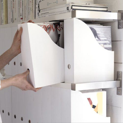 The series of IKEA magazine holders in white
