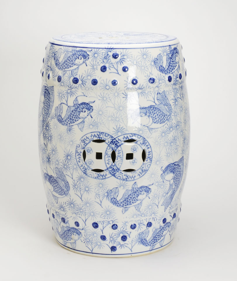 Blue And White Garden Stool The Pink Pagoda Blue And