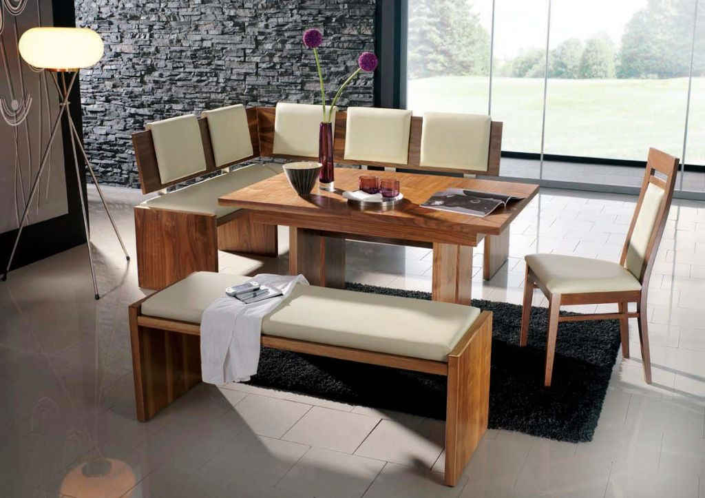 Modern bench style dining table set ideas homesfeed for Dinette set with bench