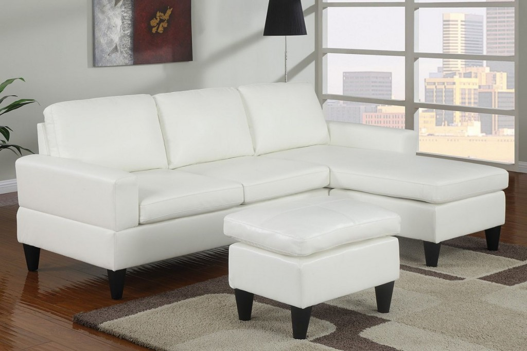 White Sectional Sofa With Chaise For A Small Living Room An Ottoman  Furniture In White Modern