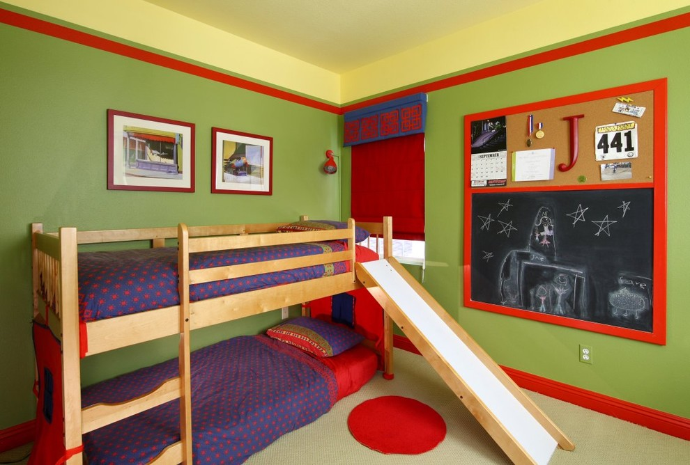 Wooden loft bed with built in ladder