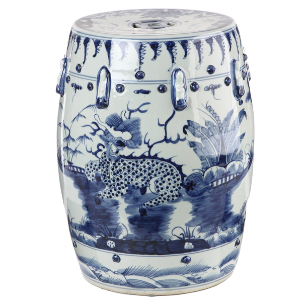 Blue And White Garden Stool Idea With Motif