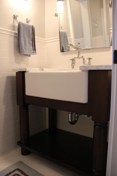 White Farm Sink For Bathroom