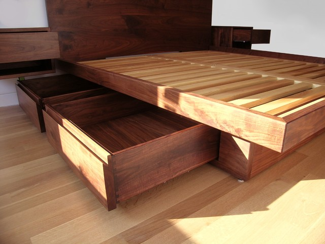 Lavish Bedroom Platform Model made of Oak Wood with Storage Model Designed in Drawer Style also Floating Stand for Stuffs on Each Side of Headboard