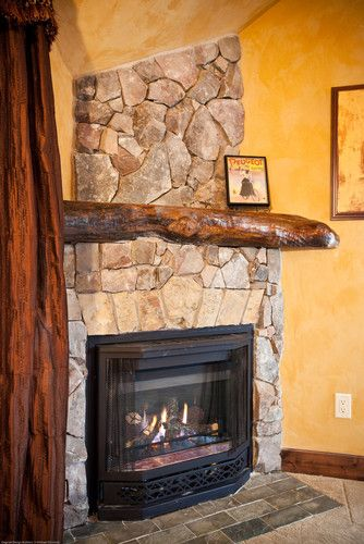 Exelent ideas of reclaimed wood mantel homesfeed for Fireplace half stone