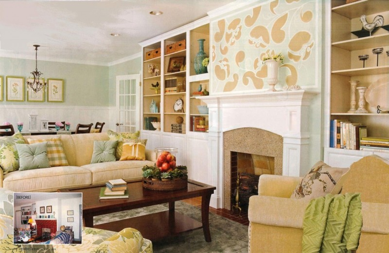 Enchanting Living Room with White Interior Design and Floral Pattern on Mantel also Vintage Model for Interior Furniture without Minimalist Ornaments