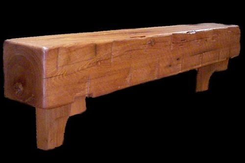 Authentic Fire Shelf Made of Teak Wood with Polished and Glossy Finishing for Installation of Firepit with Rustic Model on Mantel of Minimalist House