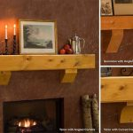 Modest Firepit With Wooden Material For Main Panel Using Candle Place On Landscape Picture In Wooden Frame With Transparent Panel On Mantel