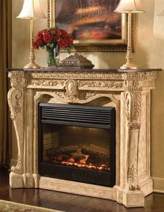 Enchanting Fireplace with Ornamental Style for Fire Mantel and Stainless Circulation with Classic Model of Firepit with Red Flower on Classic House