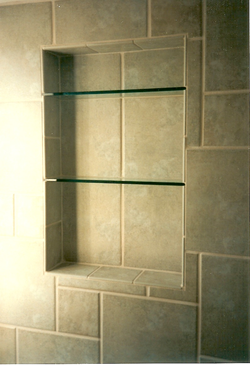 Adorable Mounting Shelves with Glass Panel Installed on Granite Back Splash Tiles without Lamp Installation for Bathroom of Minimalist House