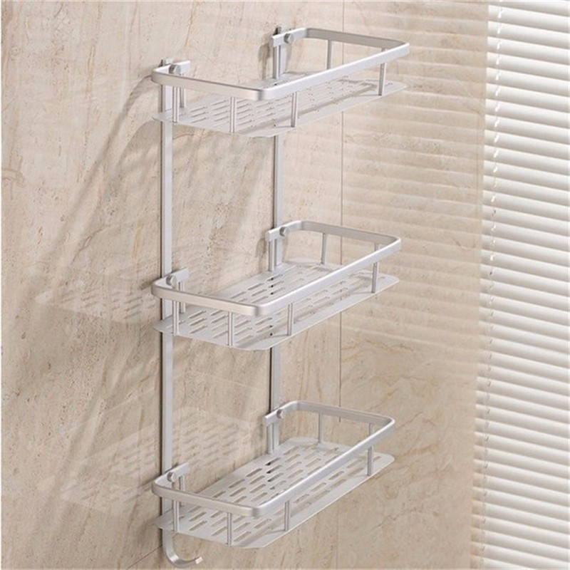 Amusing Mounting Racks with Steel Panel for Shelves using Anti Rust with White Color Installed on Concrete Wall of Bathroom with Stainless Shutter