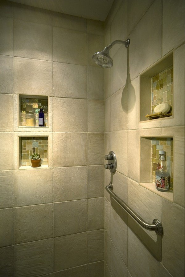 Beautiful Wall Concept with Stainless Tools also Mounting Shelves Made of Tile Material for Soap and Ornaments on Modern Bathroom of Mansion