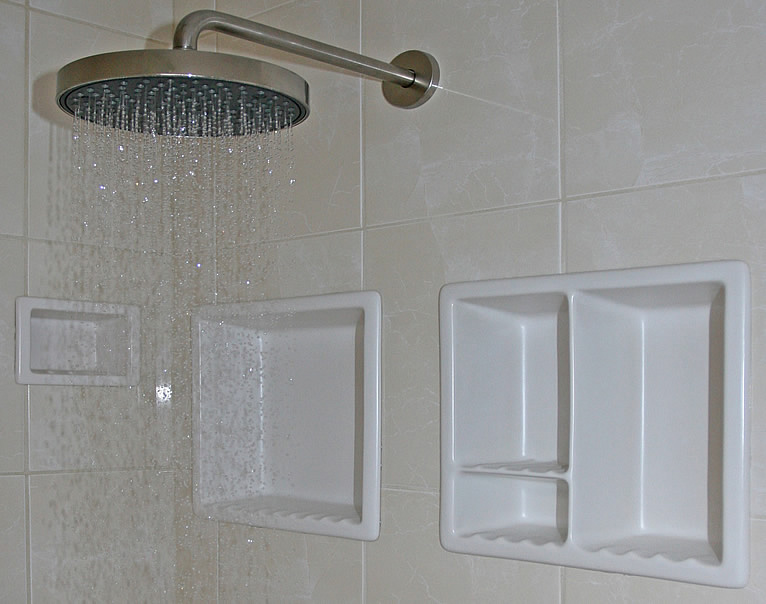 Enchanting Shower Style with Hanging Stainless Tube also Rainy Panel on White Tile also Mounting Panel with Several Panels on Shelves for Stuffs