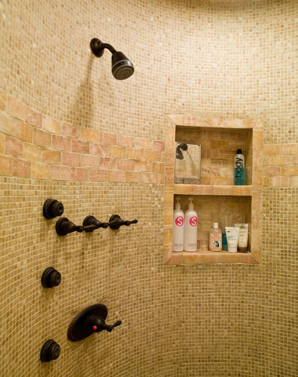 Adorable Wall Design with Wooden Panel for Soap and Stuffs also Hanger Made of Resin Wood with Similar Pattern on Shower to Embrace Classic Interior