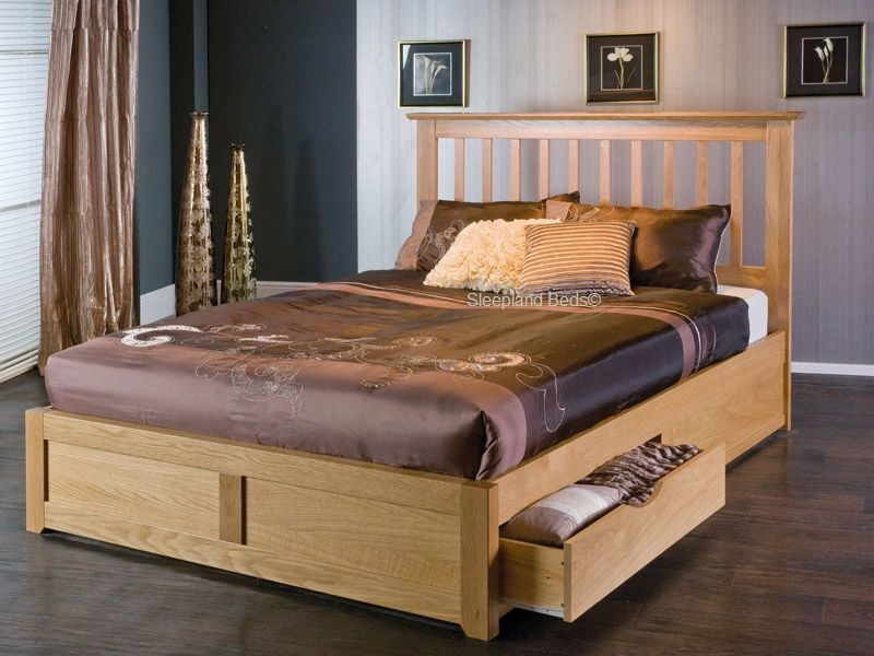 Deluxe Bedroom with Wooden Bed Platform also Storage on Single Model with Classy Model of Headboard and Pictures on Wall Decal of Room