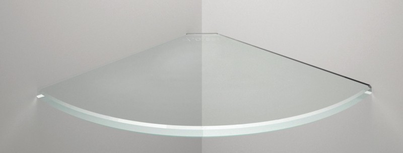 Minimalist Glass Panel as Single Shelf of White Interior Design of Bathroom Covering Glowing Side of Room without Adequate Light System