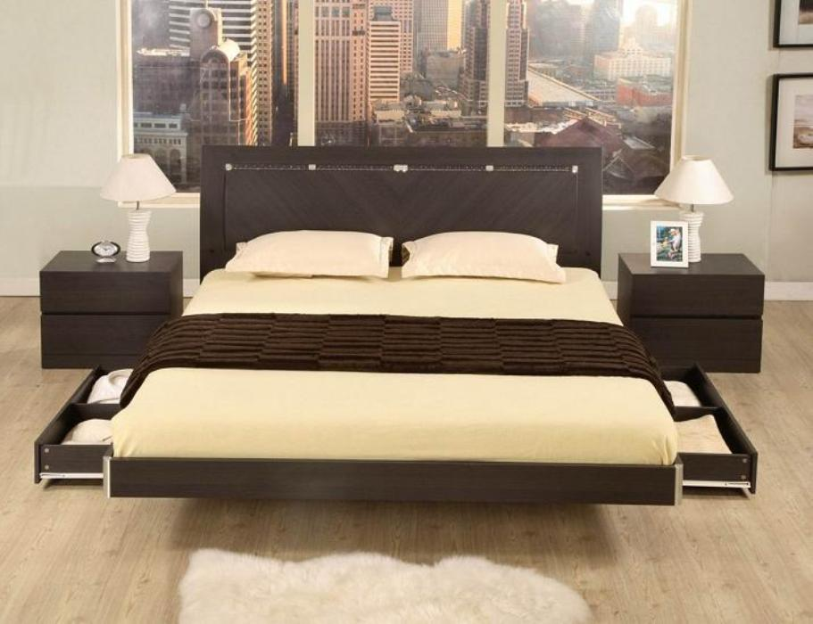 Sophisticated Bedroom with Floating Model of Bedroom using Swivel Storage also Teak Wood for Small Stands with Twins Lamp on Room with Wooden Floor