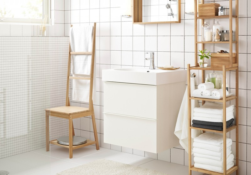 032 Enormous Bathroom Concept with Wooden Stands for Towel also Floating Bathroom Basin using Small Chair for Decoration on White Bathroom Design