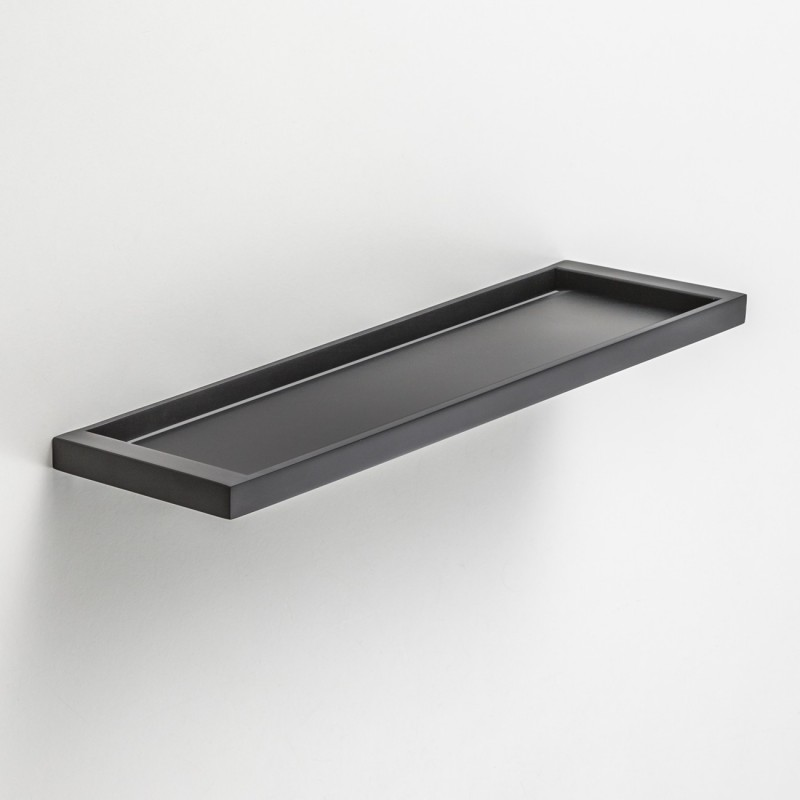 Modest Bathroom Shelves Made Of Steel Material Painted In Glossy Black  Using Glue Enhancer With Main