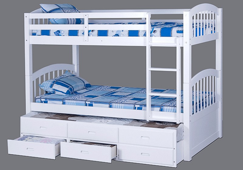 Marvelous Bedroom with Bunk Bed Platform painted in White also Blue Color for Cover and Perforated Board on Frame of Platform for Minimalist Room