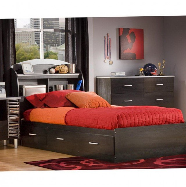 Astonishing Bedroom with Black Concept for Bed Platform with Colorful Interior also Black Night Stand with Headboard Shelves for Room with Window