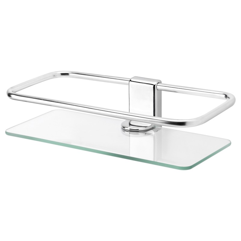 038 Mesmerizing Bathroom Shelf with Glass Panel for Support using Stainless Holder on Steel Bolts to Install Minimalist Panel on Bathroom Enhancer