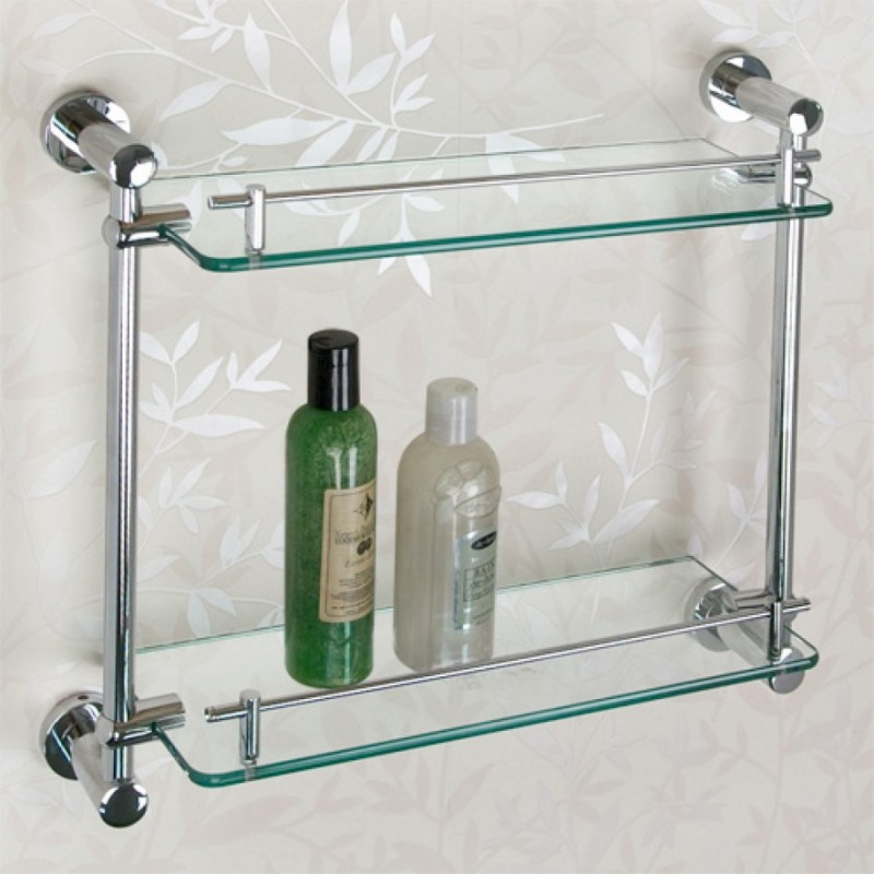 Perfect Bathroom Shelves with Glass Panel using Stainless Enhancer using Six Bolts to Cover Transparent Appearance of Panel with Floral Pattern