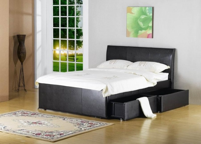 Amusing Bedroom with Black Platform for Bed and Storage also White Cover for Bed using Planting for Minimalist Style of Room using Efficient Lamp