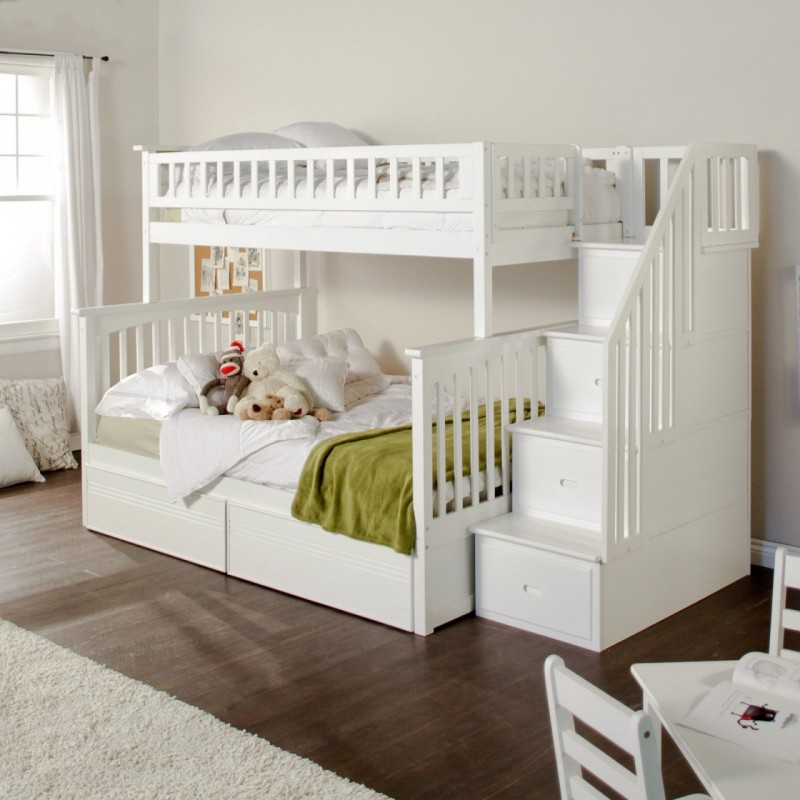 Astonishing Bunk Bed Bedroom with White Concept on Ladder Style for Storage with White Interior Design of Minimalist Room using Teak Wood for Floor