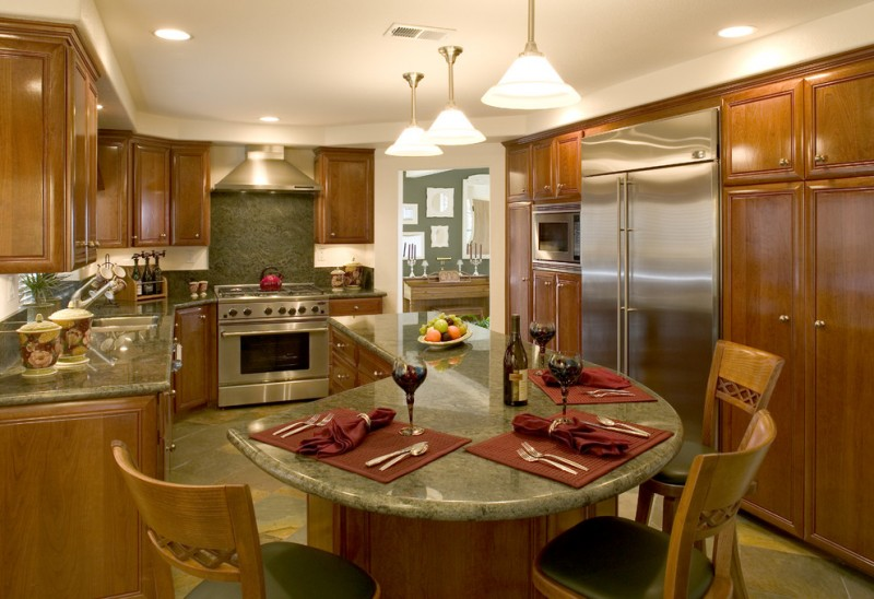 L Shape Kitchen With Beautiful Green Countertop Green Island Wooden Stools  With Green Seating Semi Classic