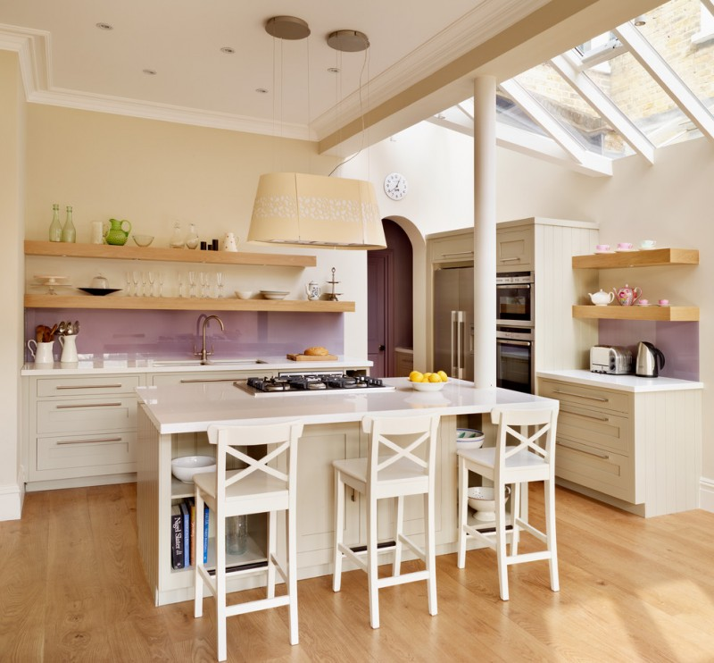 contemporary open kitchen idea with modern purple glass backsplash white wooden stools open wooden shelves system white kitchen countertop wooden floor system