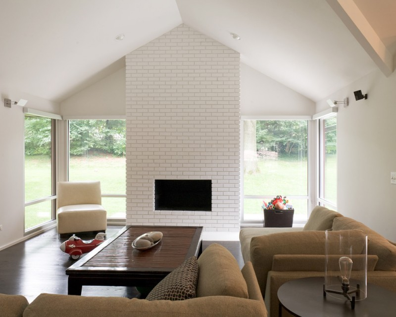 contemporary white brick fireplace idea beige furniture set