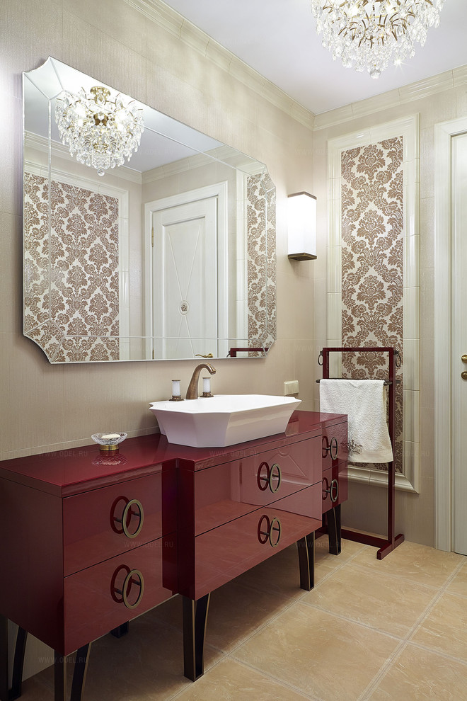 dark red vanity idea with decorative circular cabinets' handle white sink plus faucet frameless vanity mirror a couple of wall mounted lamps