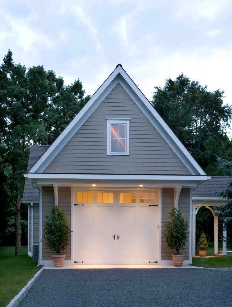 detached garage door entrance in white