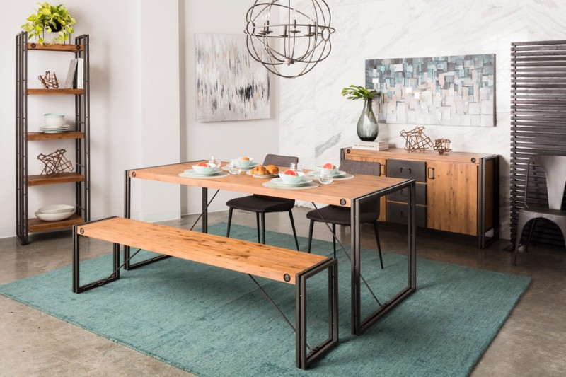 dining room with Western influence minimalist dining furniture medium & dark finishes medium tone console table with dark tone wood door blue rug wall arts classic pendant lamp