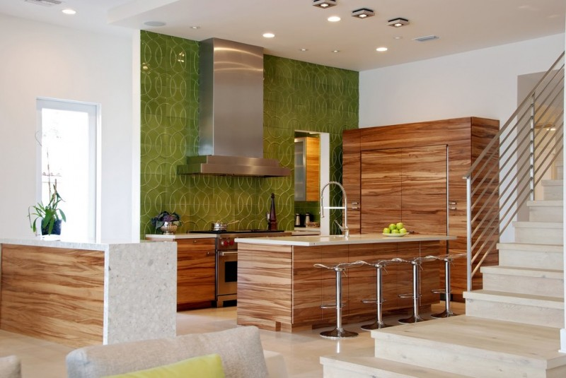 eco themed open kitchen with chic wall system hardwood counter hardwood kitchen island hardwood cupboard