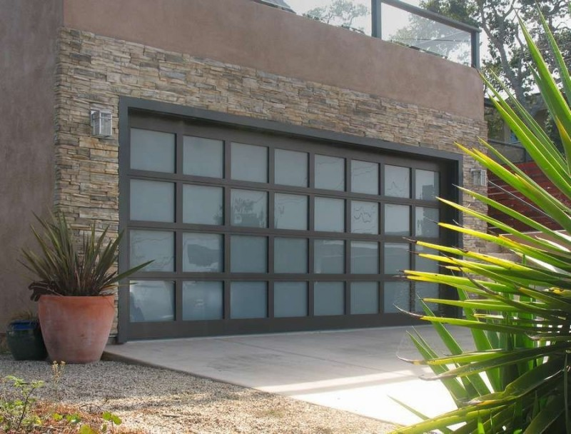 full glass garage door idea for modern rustic garage building