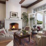Full Length Vertical White Bricks Fireplace Comfy Soft Toned Furniture Set Ottoman Rug