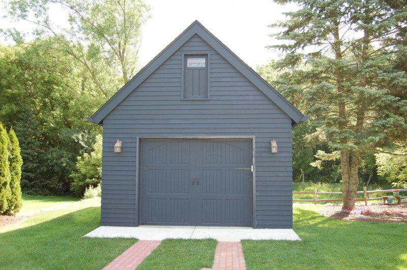 grey color toned garage door idea without frame in detached car garage