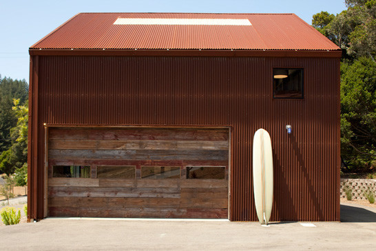 industrial garage idea with minimalist and shabby cool wood garage door