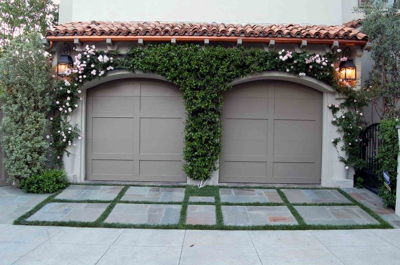 mediterranean car garage idea with grey color tone vertical garden
