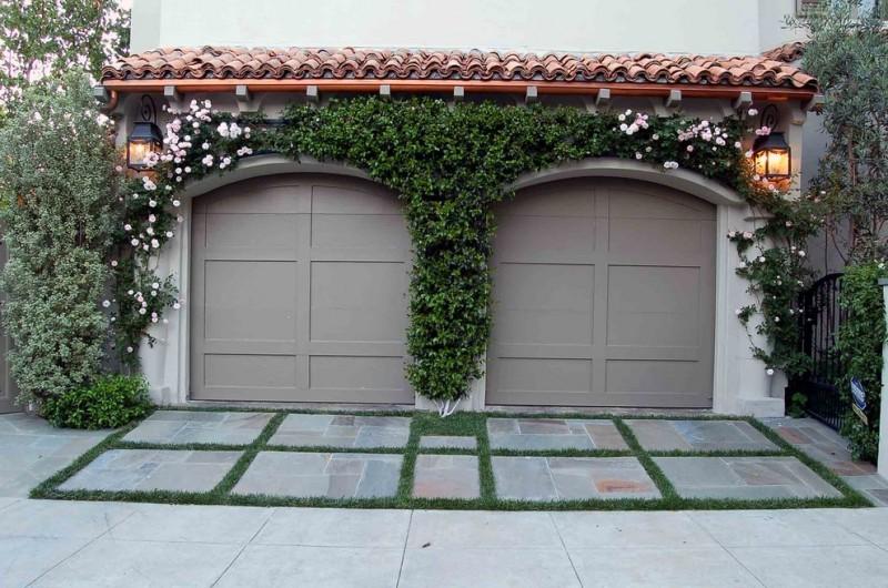 mediterranean car garage idea with grey color tone vertical garden