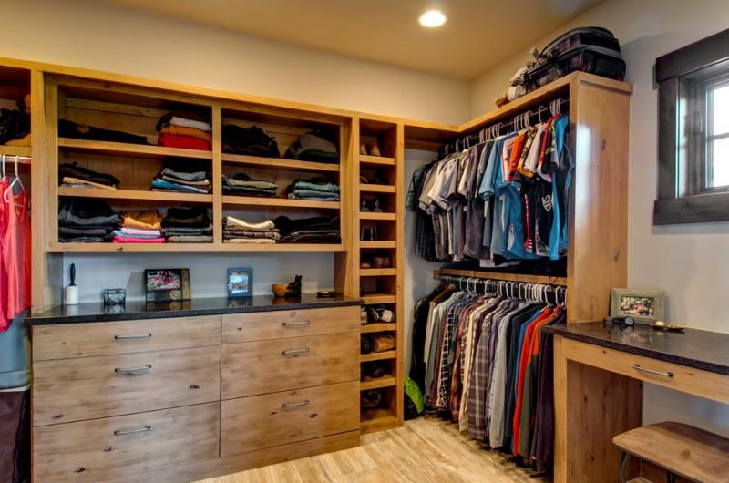 Menu0027s Walk In Closet Idea With Flat Panel Cabinets And Medium Hardwood  Floors