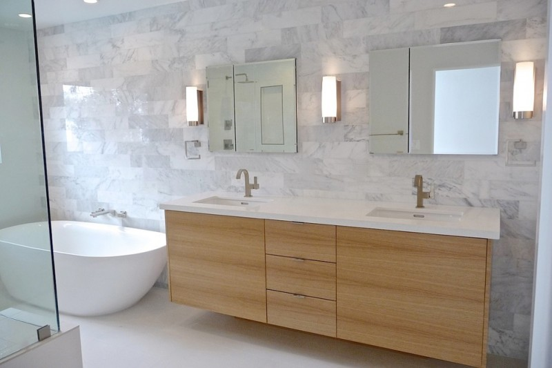 minimalist vanity with drawer and cabinet system double sinks and faucets a couple of frameless mirrors series of minimalist wall lamps