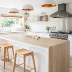 Minimalist White And Small Open Kitchen Idea Wood Color Stools Wood Color Breakfast Bar L Shaped Wood Color Countertop Wooden Open Shelves White Cabinets White Pendant Lamps With Copper Tone Inner