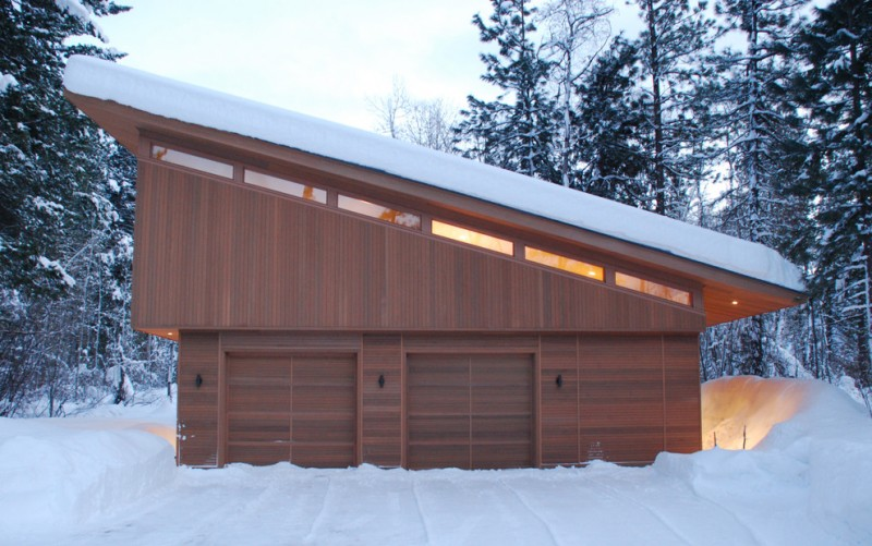 minimalist wooden made garage entrance in a cabin building