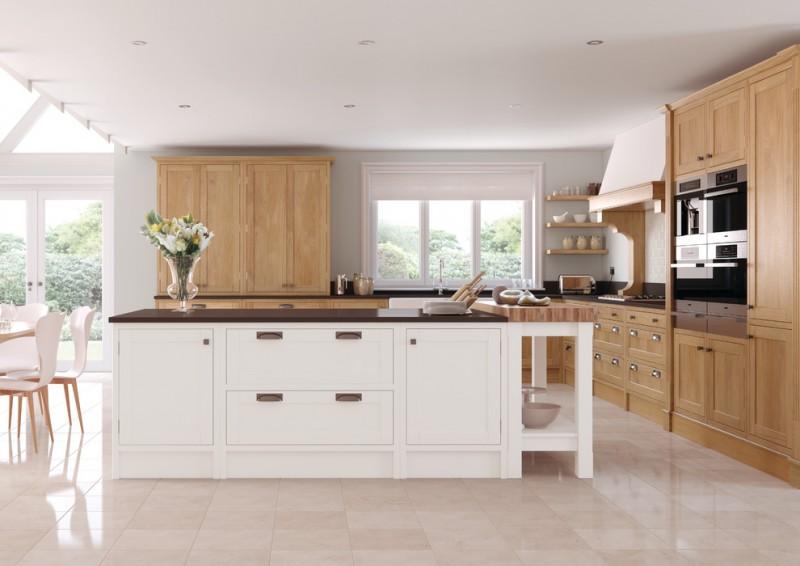 mix modern rustic open kitchen idea oak cupboard oak cabinetry lowered ceiling recessed kitchen lightings glossy dark kitchen island light cream ceramic flooring