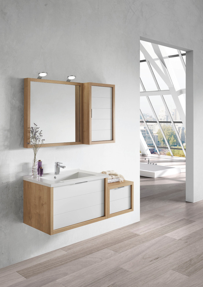 modern minimalist floating vanity design with wood frame and wood framed mirror