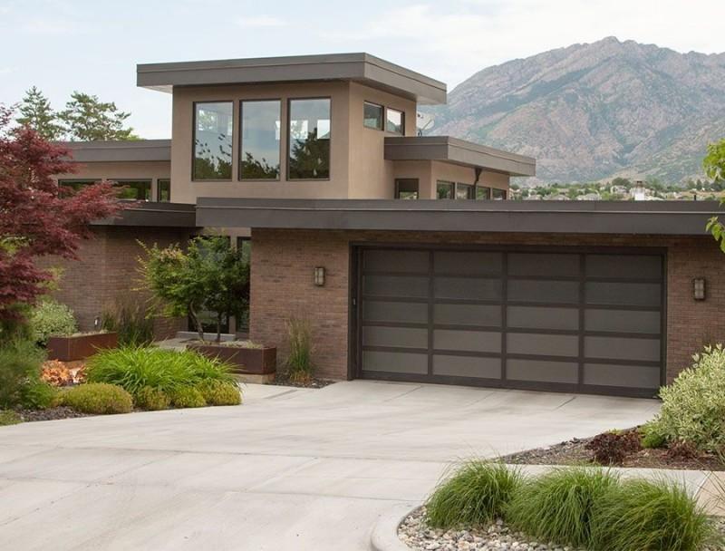 modern minimalist garage door idea with black frame