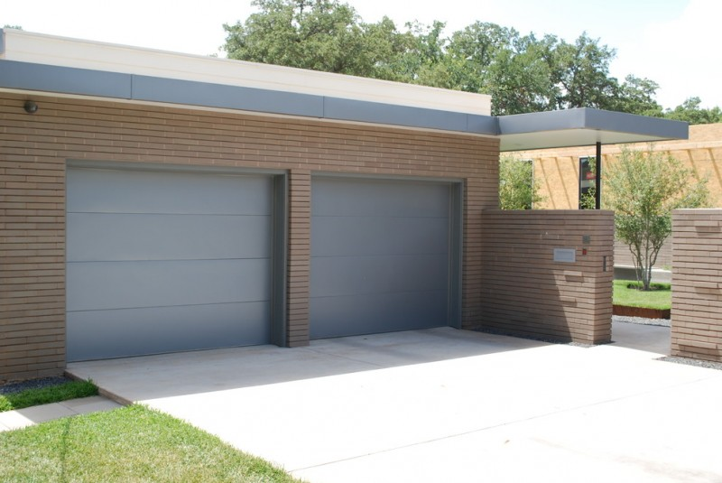 modern minimalist garage entrance in grey